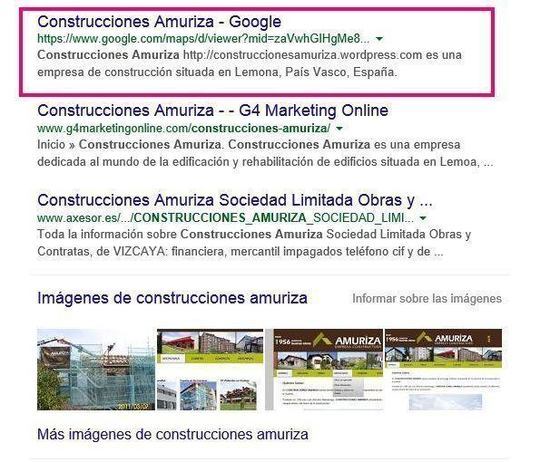 Construcciones Amuriza en Google