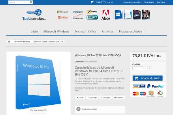 Microsoft Windows Pro 64 bits oem